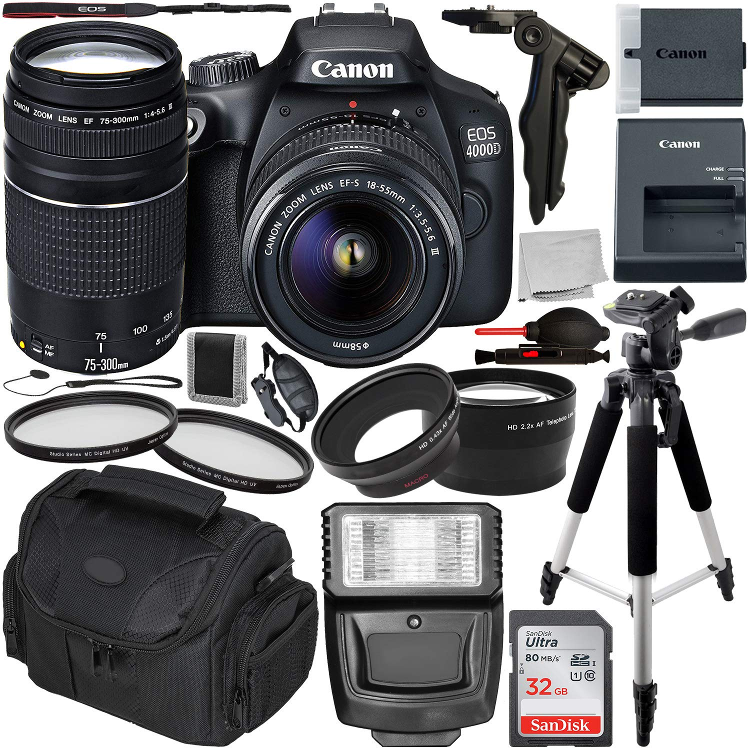 Canon EOS 4000D DSLR Camera with 18-55mm III & 75-300mm III Lens & Essential Accessory Bundle - Includes: SanDisk Ultra 32GB SDHC Memory Card + Wide Angle & Telephoto Lens Attachment + More
