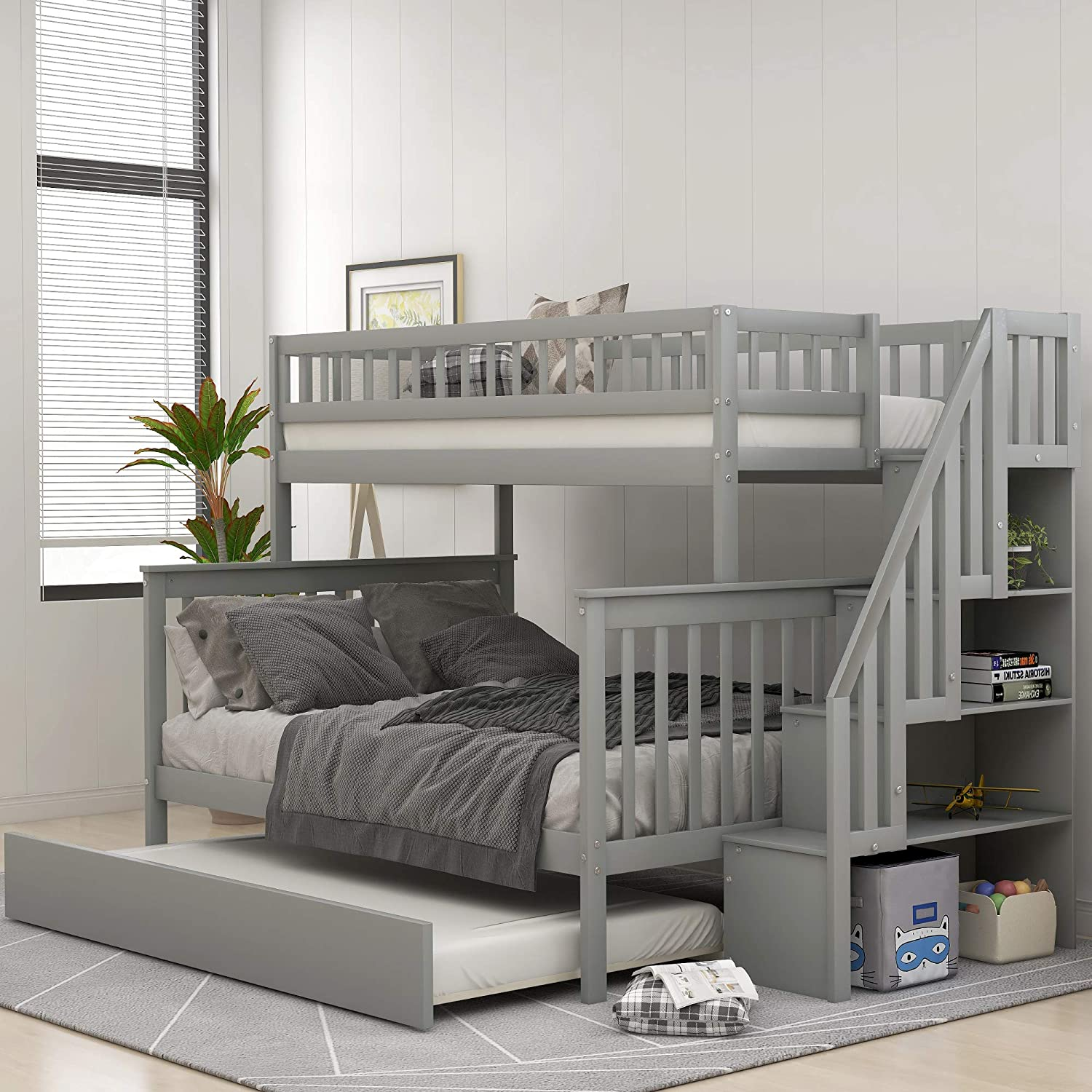 STARTOGOO Solid Wood Twin Over Full Trundle, Bunk Beds for Kids with Storage, Stairs and Guard Rail, No Spring Box Needed, Gray 2