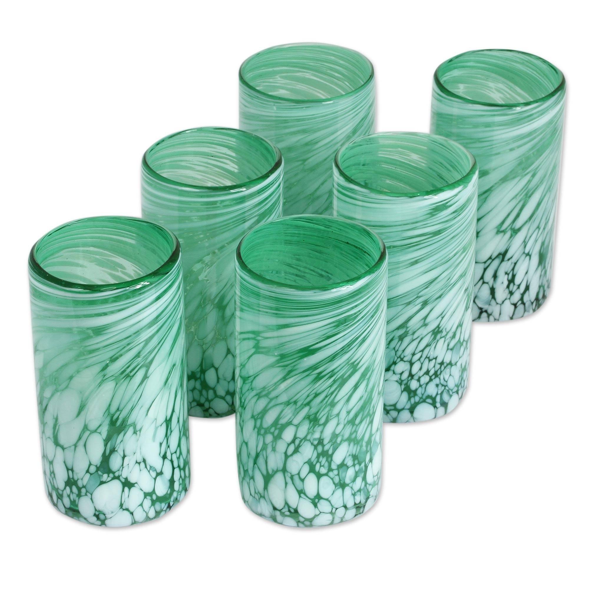 NOVICA Hand Blown Glass Eco-Friendly Green Drinking Glasses, 16 oz, 'Festive Green' (set of 6)