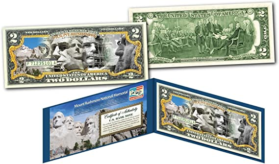 United States AIR FORCE WWII Vintage Genuine $2 Bill in 8x10 Collectors Display