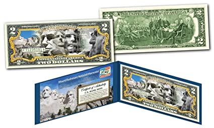 Mount Rushmore National Memorial Moument Legal Tender U S 2 Two Dollar Bill