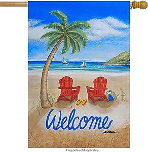 "Briarwood Lane Beach Summer House Flag Tropical Island Palm Tree Adirondack Chairs 28"" x 40"""
