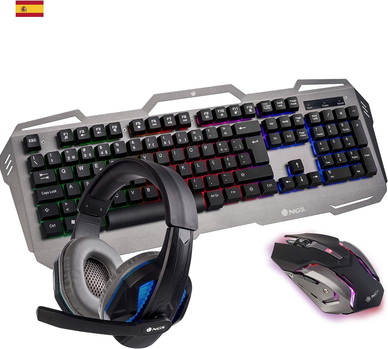 NGS GBX-1500 Kit Gaming Teclado Multimedia + Ratón Óptico + Auricular Estéreo con Micrófono (Teclado QWERTY Idioma Español)