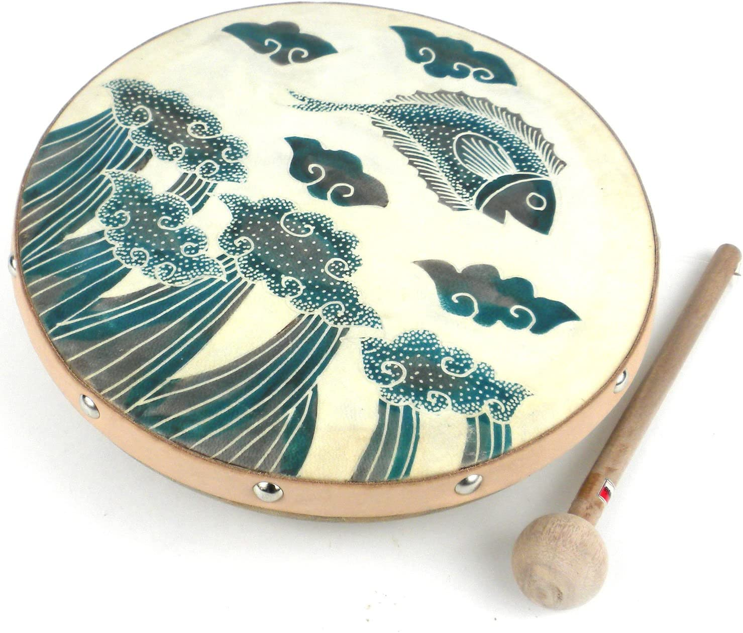 Goat Skin Head Frame Drum Featuring a Jumping Fish Batiked Design