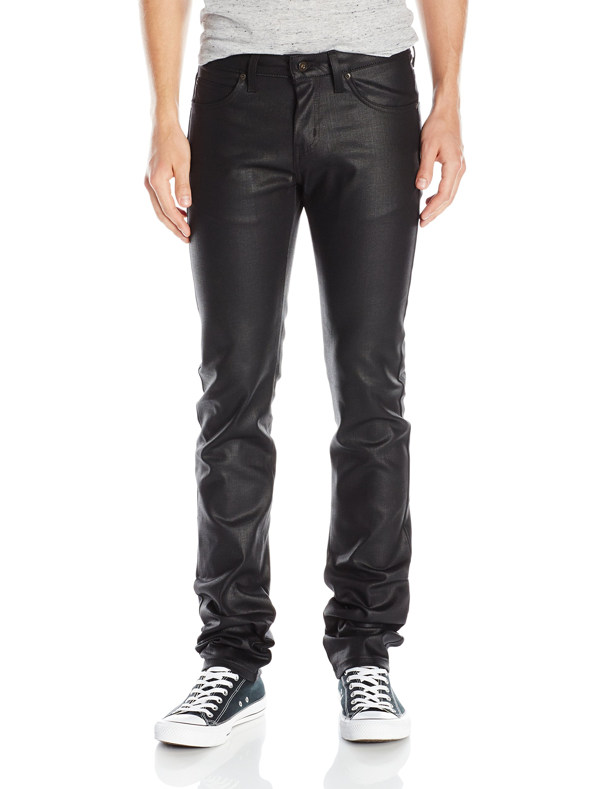 Naked & Famous Denim Men's SkinnyGuy Waxed Stretch Jeans, Black, 29