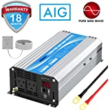 Power Inverter Pure Sine Wave 1200Watt 12V DC to 110V 120V with Remote Control Dual AC Outlets and USB Port for CPAP RV…