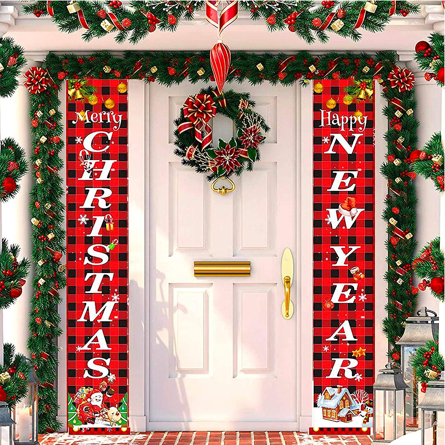 Outdoor Christmas Decoration for Home, Farmhouse Christmas Decor- Merry Christmas Happy New Year Red Buffalo Check Plaid Decor Xmas Decor for Indoor Front Door Living Room Kitchen Wall Party