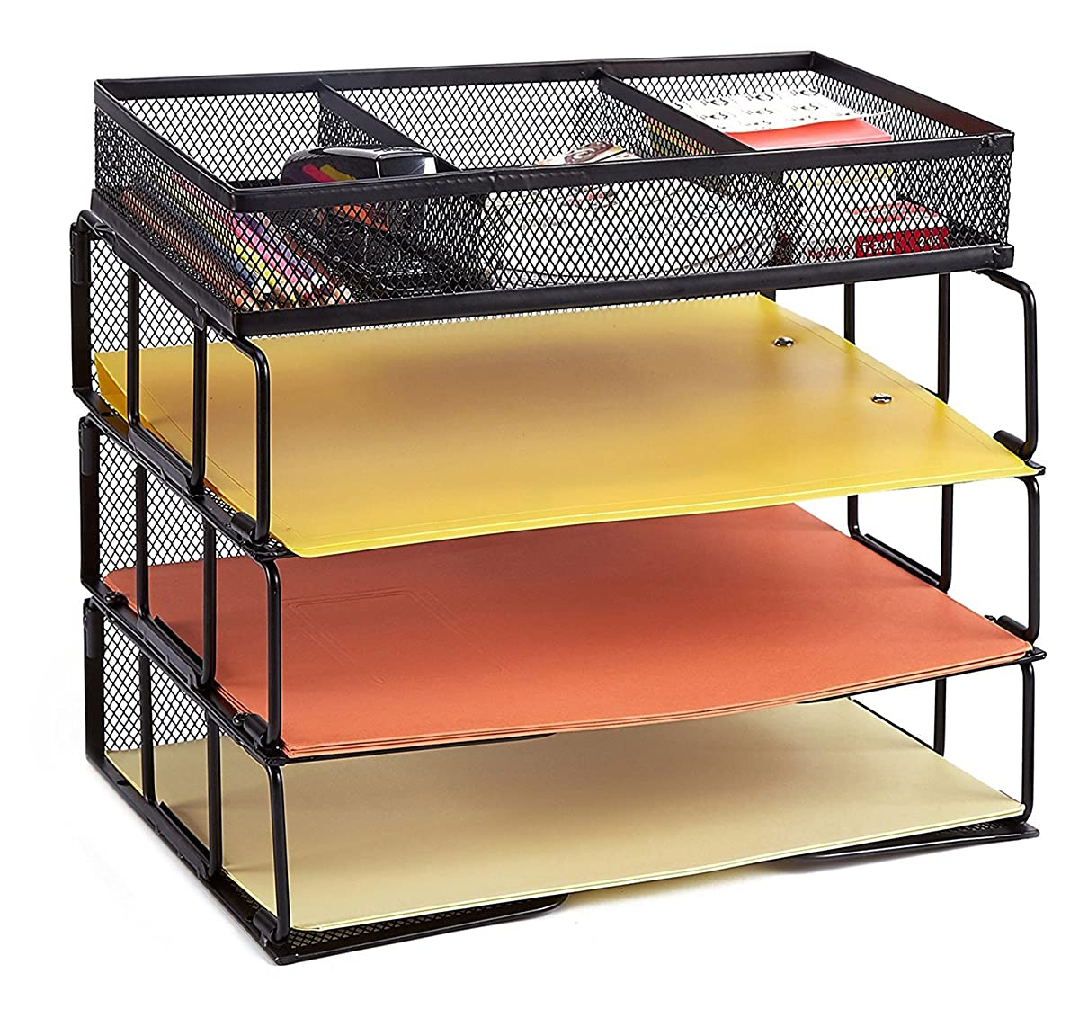 Rackarster Mesh Desktop Office Organizer 3-Tier Stackable Desk Paper Organizer Letter Tray with File Organizer Sorter 3 Compartment, Black
