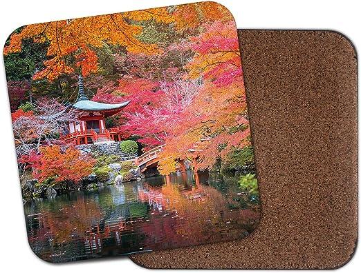 Posavasos de jardín japonés, diseño de flores de cerezo japonés, regalo de estilo oriental #8830: Amazon.es: Hogar