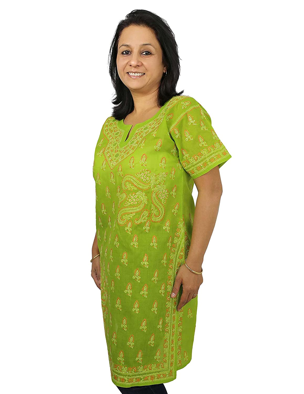 Frauen Baumwolle Kurzarm-Top-Hemdbluse Chikan Stickerei Größe L