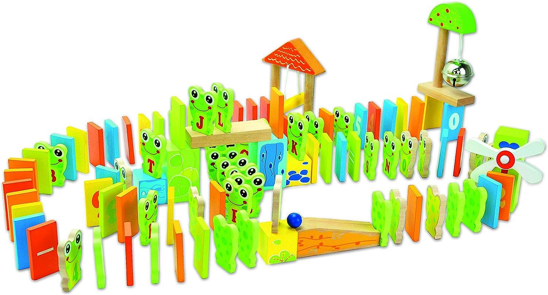 Playtastic Dominosteine Holz Domino Rallye 263-teiliges Domino-Set mit Holzsteinen /& Action-Elementen