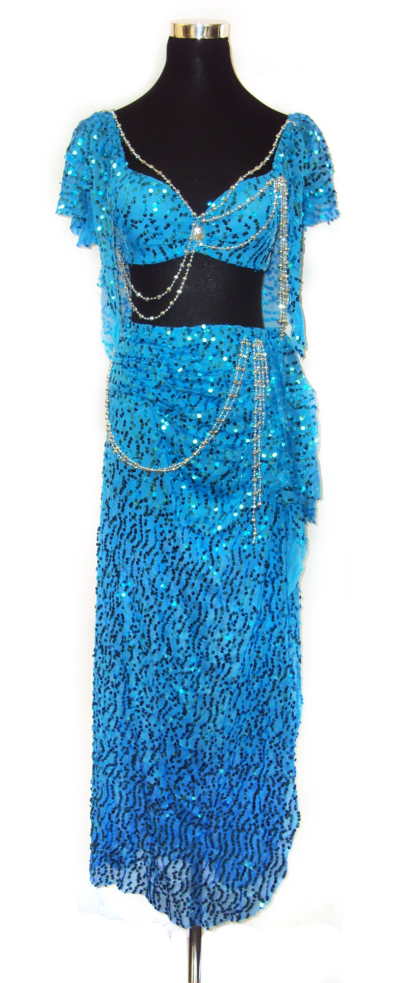 Belly Dancer Glitter Bra Top & Hip Belt Skirt Harem Costume Set --Blue 34 A,B by Belly Dance Costume