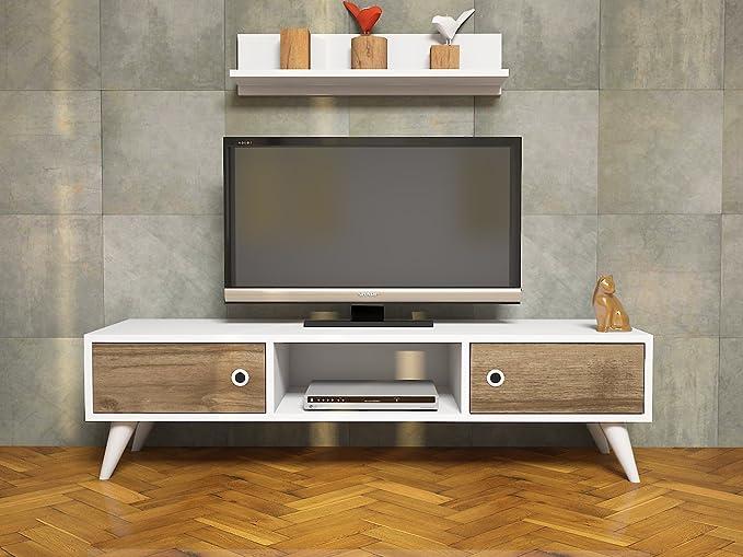 ASPEN Mueble salón comedor para televisión con 2 puerta y estante - Blanco / Nogal - Mueble bajo para televisor - Mesa de Televisión en diseño elegante: Amazon.es: Hogar