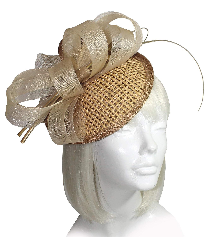 ST62 Natural Song Millinery All-Season Derby//Ascot Profile Dish Straw CRIN Headband Fascinator Mr