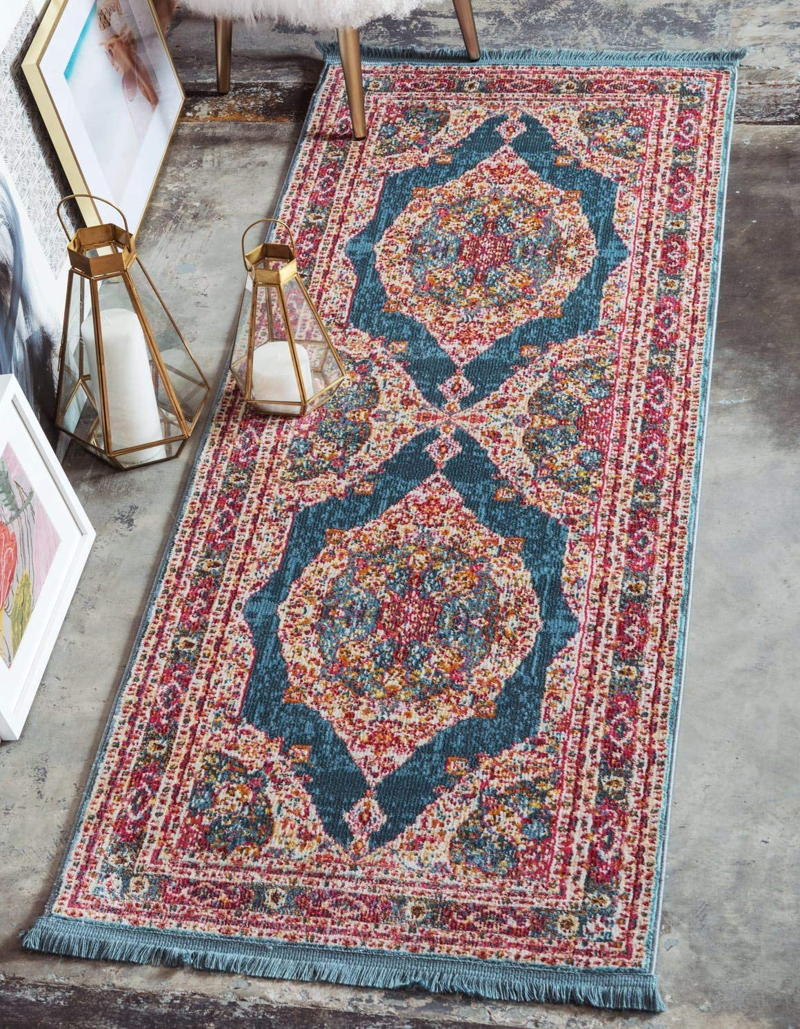 Unique Loom Baracoa Collection Bright Tones Vintage Traditional Turquoise Runner Rug 2 2 x 6 0