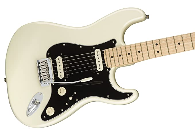 Squier por Fender Stratocaster Guitarra eléctrica - contemporáneo hh - arce diapasón - Pearl Color Blanco: Amazon.es: Instrumentos musicales
