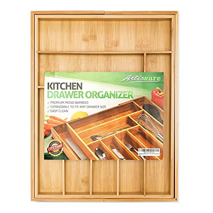 b003109afe6 Image Unavailable. Image not available for. Color  Bamboo Expandable Drawer  Organizer ...