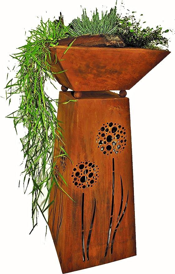 Rostikal | Decoración Columna con Diente de León y Fuente para Plantar | Rost Metal Decoración Jardín para Draussen y Interiores | Altura 75 Ancho cm 35 X 35CM: Amazon.es: Jardín