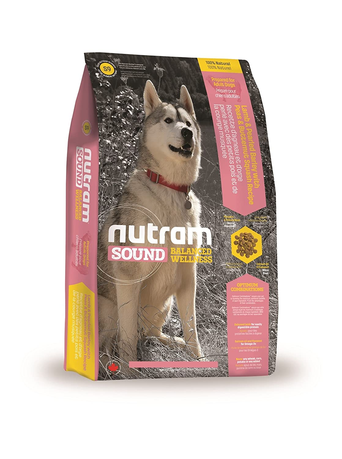 Nutram Complete Dry Adult Dog Food Lamb Barley Peas and Butternut Squash, 13.6 kg