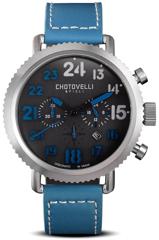 Vintage Pilot Armbanduhr Herren Stahl Blau Leder Band Chronograph Display - Chotovelli 7200–12