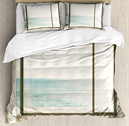 Ambesonne Beach Theme Decor Duvet Cover Set, Apartment Scenery with Wavy  Sea Ocean Coastal Home Design, 3 Piece Bedding Set with Pillow Shams, ...