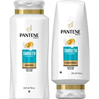 Pantene, Shampoo and Sulfate Free Conditioner Kit, with Argan Oil, Pro-V Smooth and Sleek for Dry Hair, 25.4 oz and 24…