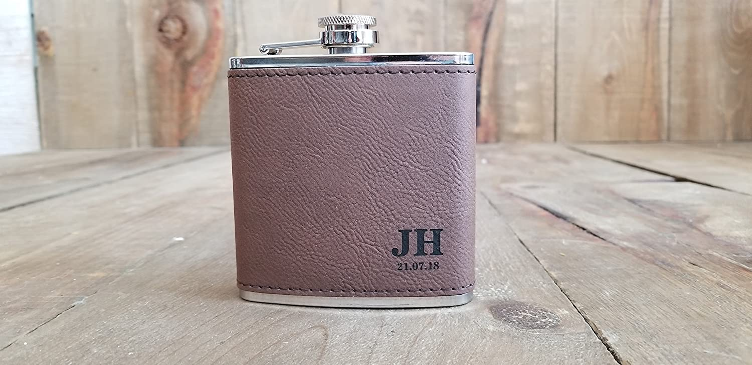 Personalized Leather Groomsmen Flasks with Initials