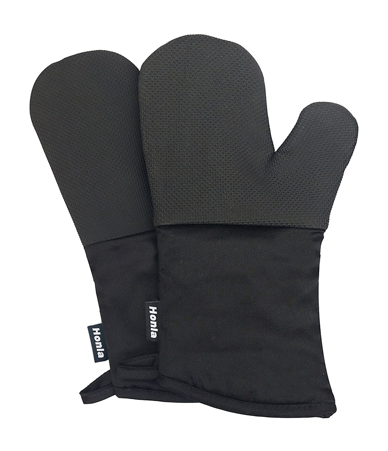 Neoprene Oven Mitts - Heat Resistant to 500° F, 1 Pair of Non-Slip Kitchen Oven Gloves for Cooking, Baking, Grilling, Barbecue Potholders, Black - Honla HKOM-007