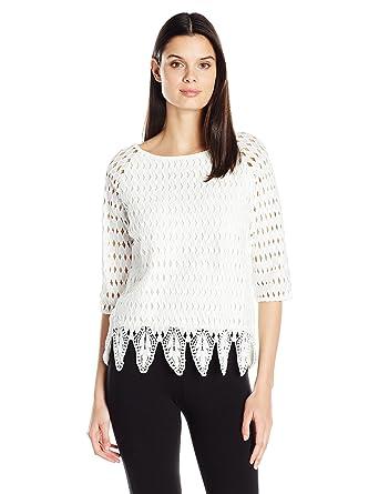 f337ed6eaae Joan Vass Women s Woven Lace Top at Amazon Women s Clothing store