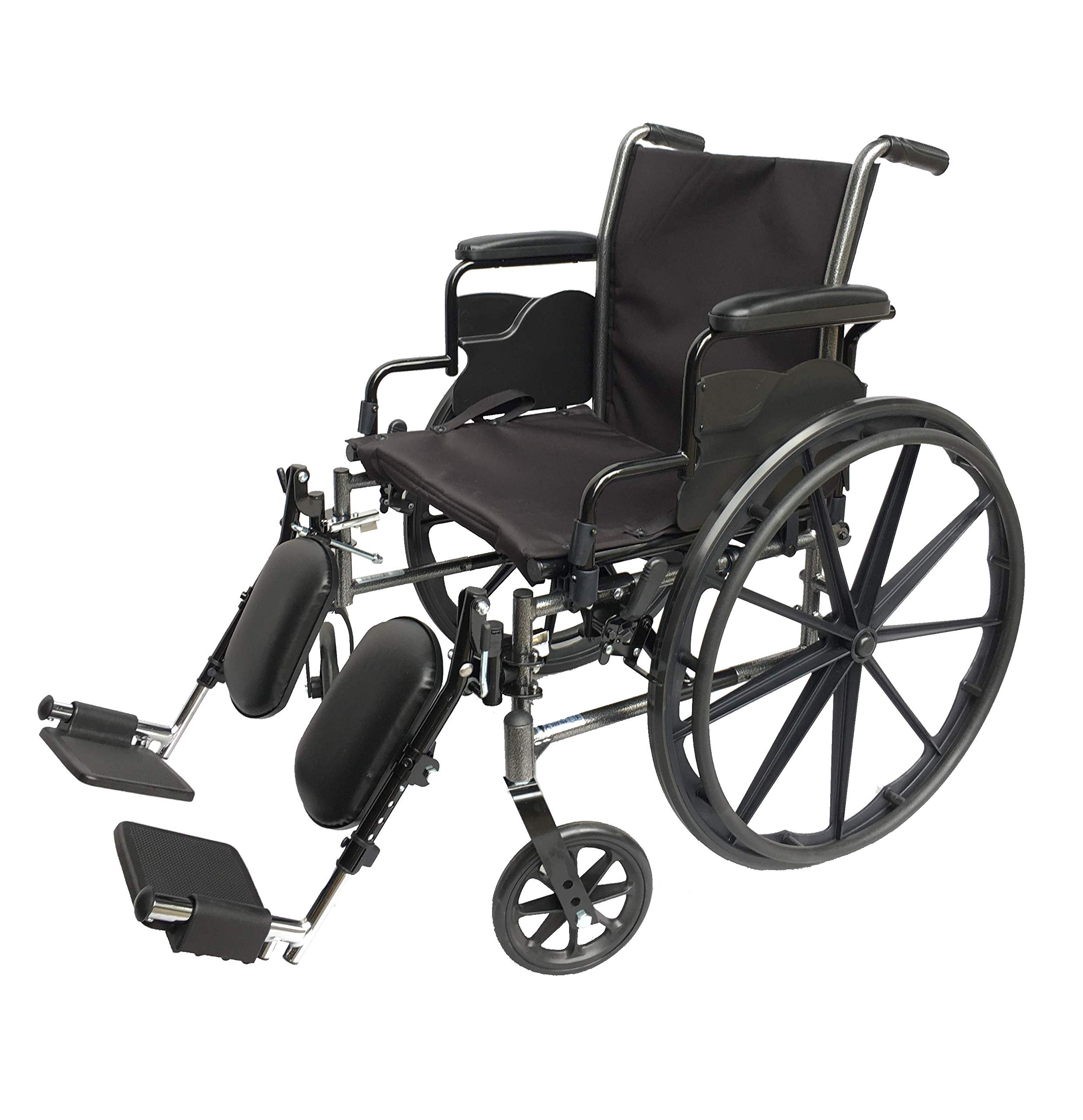 Med-Elite Deluxe Wheelchair - Elevating Leg Rests - Desk-Length Arm Rests - Padded Nylon Seat (18'' Seat) by Med-Elite Innovation