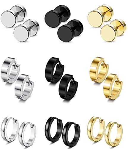 30f66c882 FIBO STEEL 9 Pairs Stud Earrings Hoop Earrings Set for Men Women Stainless  Steel Earring 18G