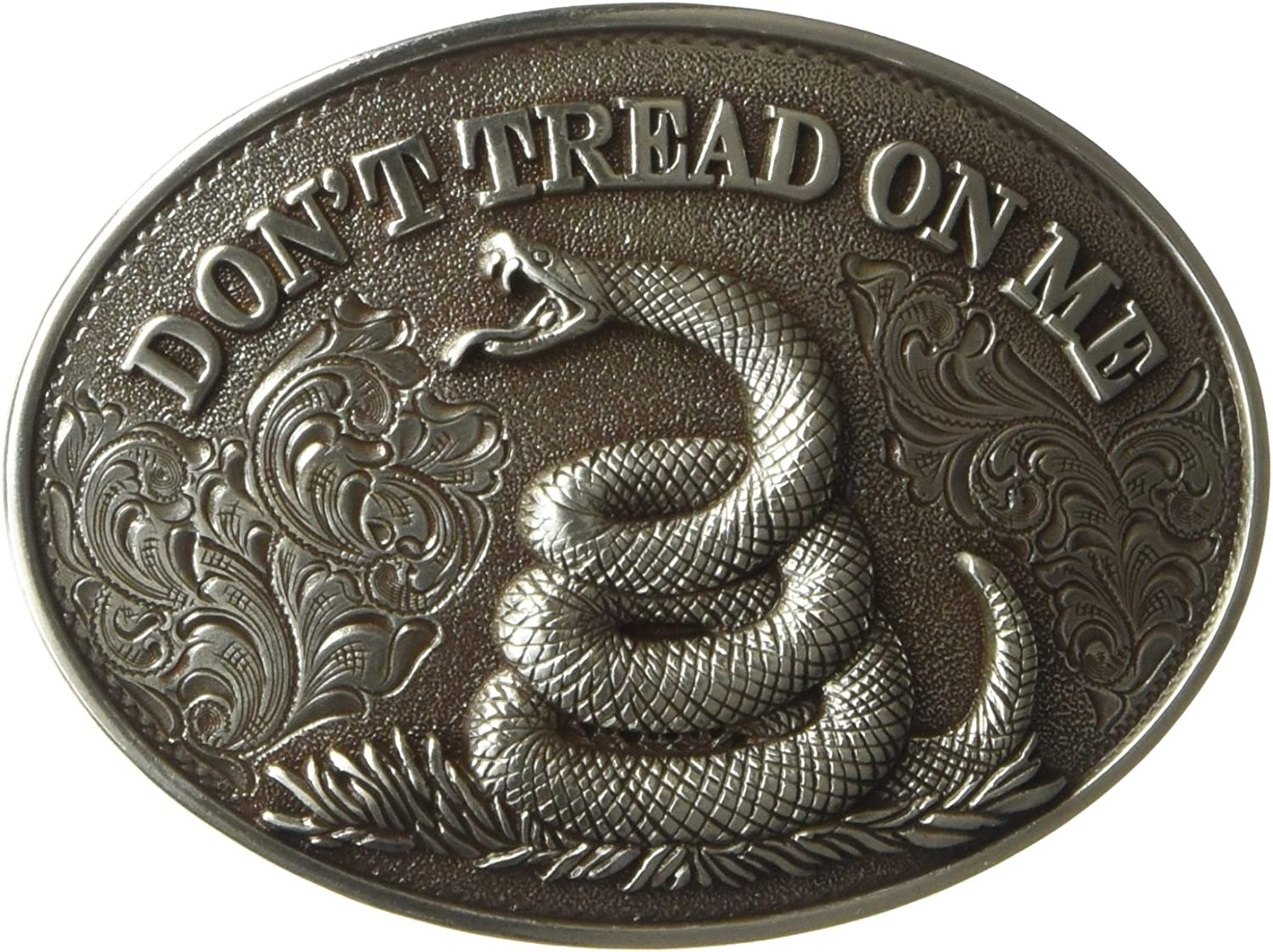 Nocona Western Belt Buckle Oval Snake Don/'t Tread On Me 37109
