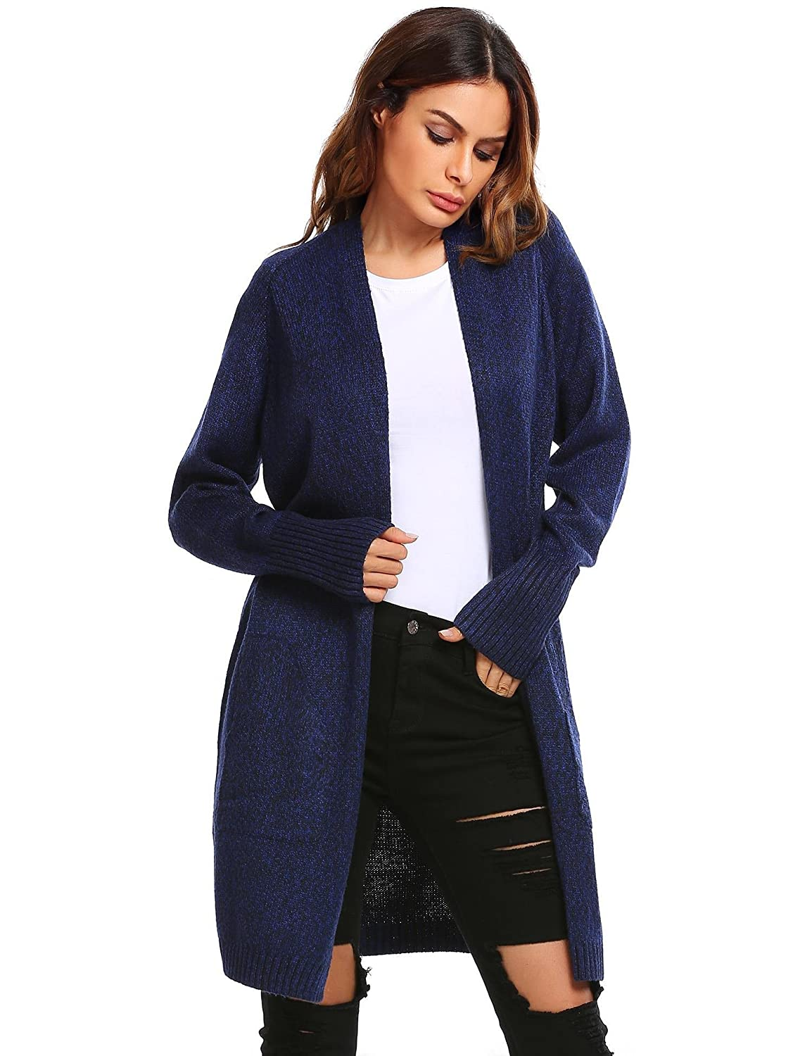 ELOVER Womens Classic Button Down Pocket Knit Long Cardigan Sweater Coat L-XXL at Amazon Womens Clothing store:
