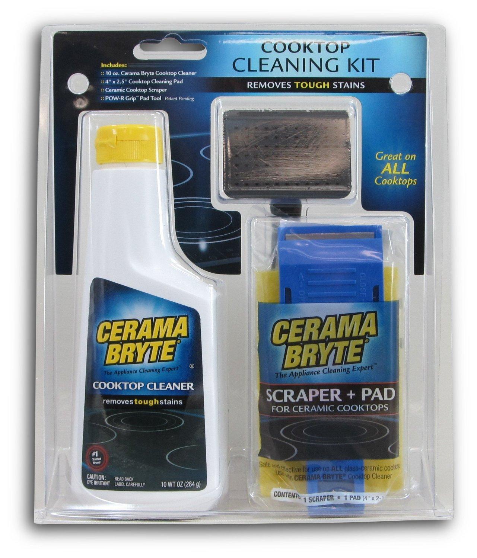 Cerama Bryte 27068 Cooktop Cleaning Kit (10-ounce bottle of Cerama Bryte Cooktop Cleaner, 1 cleaning pad and 1 scraper)