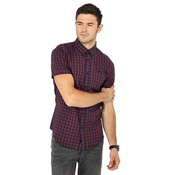 c1d5fccc0 Red Herring Men Big and Tall Red Checked Short Sleeve Slim Fit Shirt XXXL   Red Herring  Amazon.co.uk  Clothing