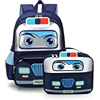 حقيبة ظهر سيارة شرطة للأطفال الصغار، حقيبة مدرسية صغيرة، حقائب كتب لمرحلة ما قبل المدرسة للبنين والبنات (كحلي)