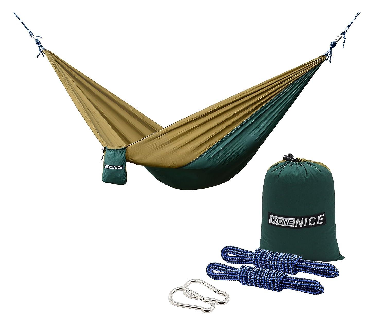 (ウォンナイス) WoneNice キャンプ用 携帯ハンモック 軽量 パラシュートナイロン製 多機能 バックパック旅行旅行ビーチ庭用耐荷重:500ポンド。 LYSB01MU4R805-SPRTSEQIP B01MU4R805 Dark Green/Camel Dark Green/Camel