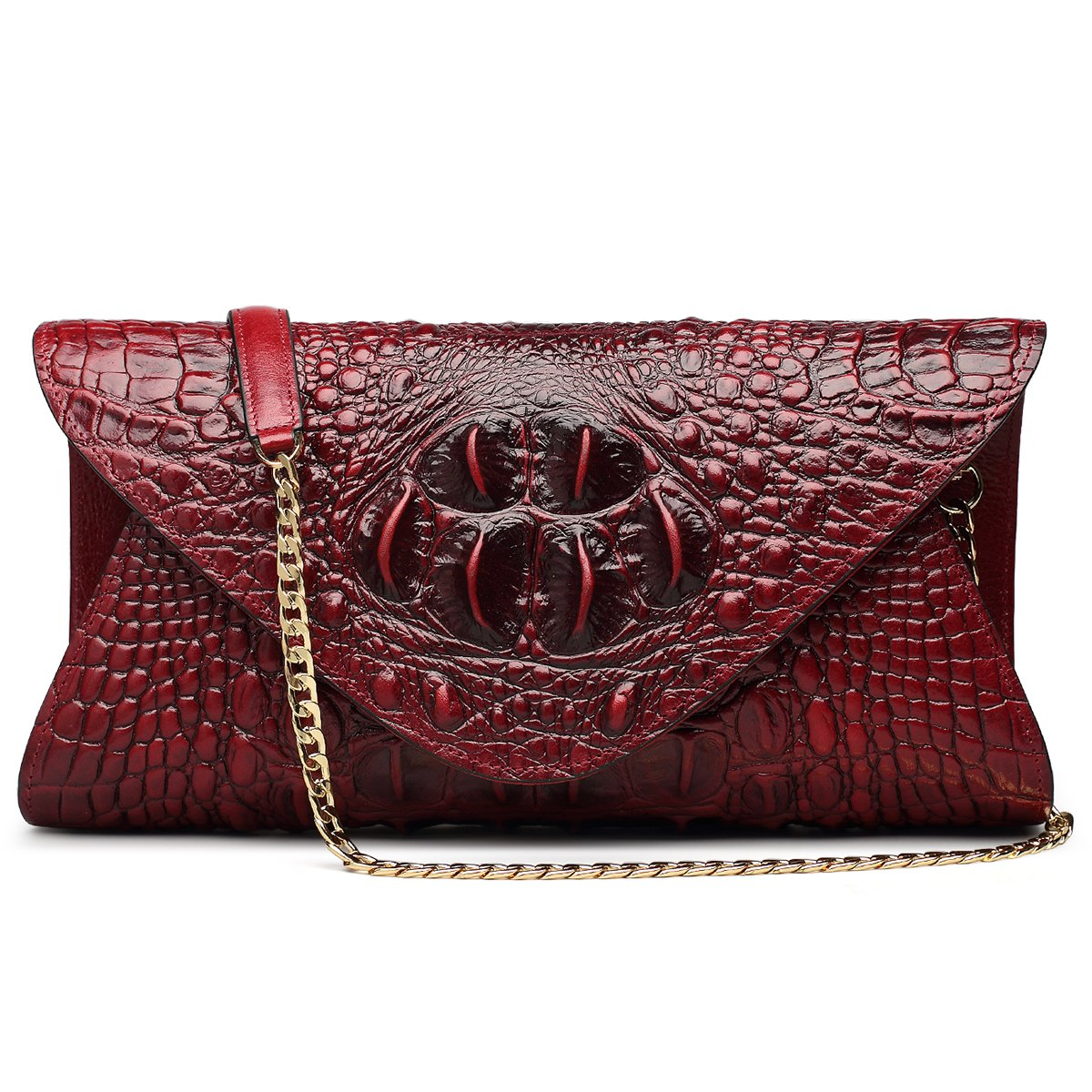 ZOOLER GLOBAL Genuine Leather Purse Clutch Crossbody Bag Crocodile Embrossed