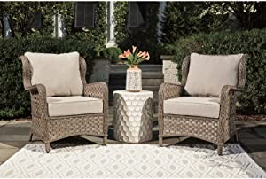 Signature Design by Ashley - Clear Ridge Outdoor Lounge Chair - Set of 2 - Contemporary - Wicker/Rust-Free Aluminum - Light Brown