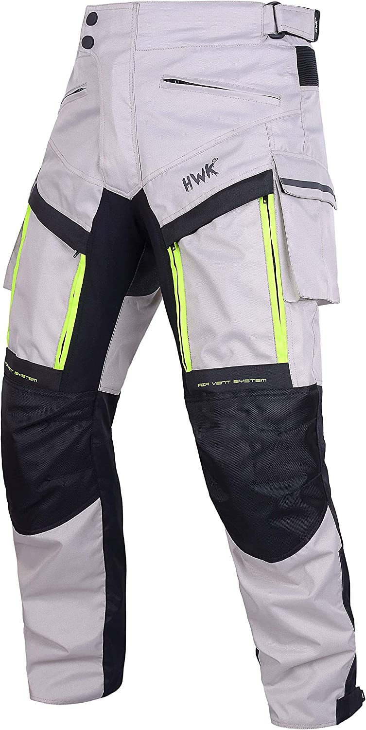 Motorcycle Polyester OverPants Black//Grey with Removable CE Armor OP-4