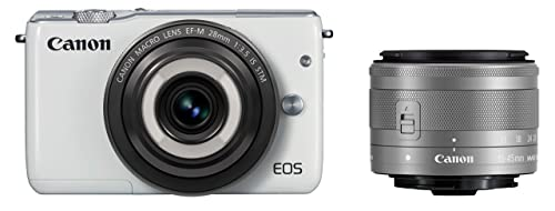 Canonミラーレス一眼カメラEOSM10(ホワイト)・クリエイティブマクロダブルレンズキットEF-M28mmF3.5ISSTMEF-M15-45mmF3.5-6.3ISSTM付属EOSM10WH-CMWLK