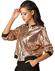 Allegra K Women's Sequin Sparkle Long Sleeve Zipper Bomber Jacket
