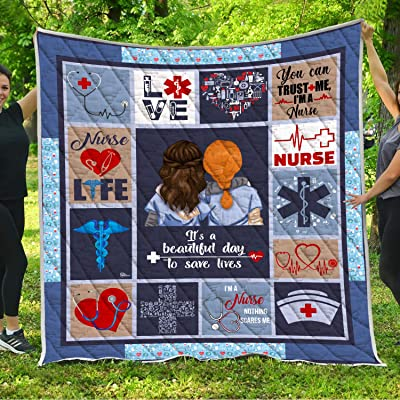 Proud To Be A Nurse Quilt Blankets King Queen Full Twin Size Birthday Christmas Nursing Gifts for ER RN NICU L&D ICU PICU LVN Nephrology Registered Nurses from Dad Mom Husband Wife Kids Son Daughter: Home & Kitchen