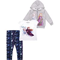 Disney 3-Piece Frozen II Leggings Set for Girls with Elsa Shirt and Zip-Up Hoodie