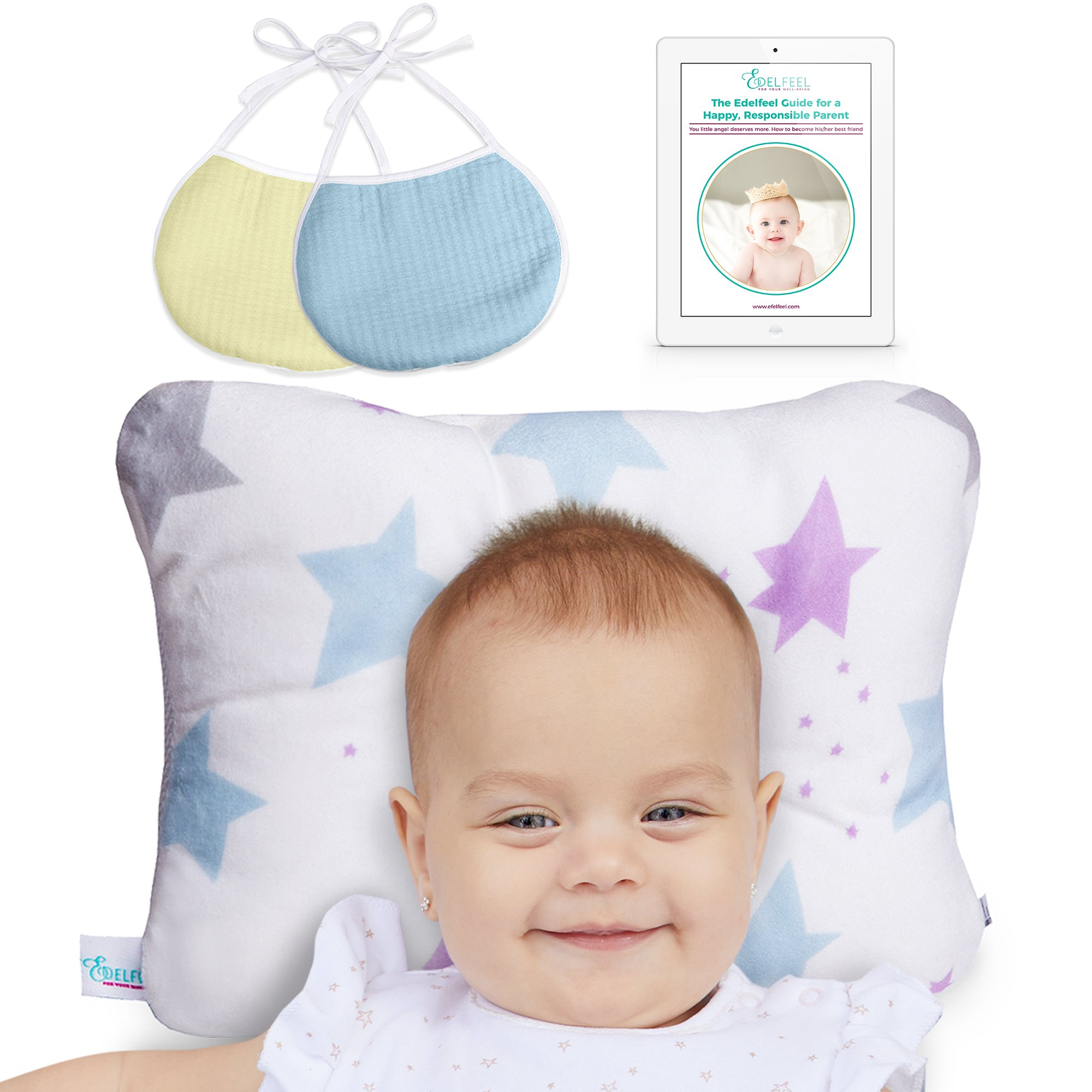 Baby Pillow Head Shaping | Newborn Pillow for Sleeping | Breathable & Washable Prevent Flat Head Infant Pillow | Include Baby Shower Gift 2 Baby Bibs and Ebook