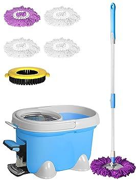 Enya Easy Mop - Juego de fregona mágica giratoria de 360°, para limpieza del suelo, con 4 cabezales de limpieza de microfibra y cepillo de nailon.