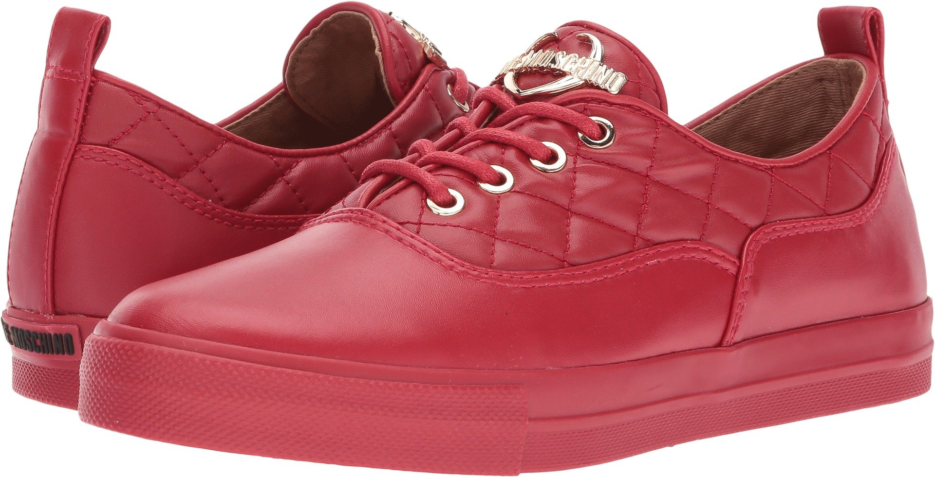 LOVE Moschino Women's Quilted Low Top Red Shoe