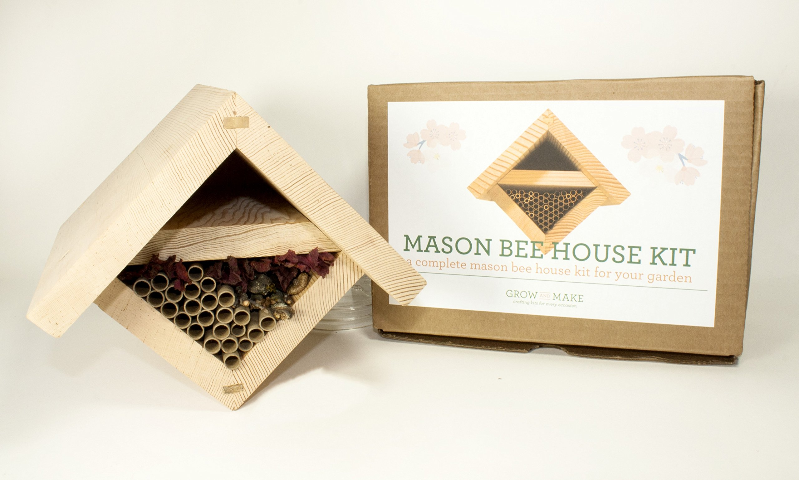 Grow and Make DIY Mason Bee House Hive Kit with 24 Mason bee Tubes - Help Attract Native pollinators to Your Garden!
