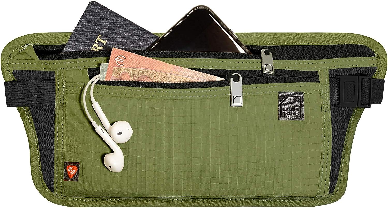 Lewis N. Clark RFID Blocking Money Belt Travel Pouch + Credit Card, ID, Passport Holder, Olive, One Size