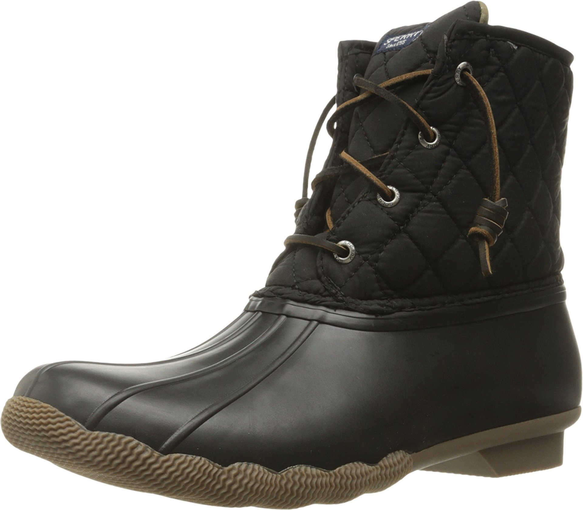 Sperry Top-Sider Women's Saltwater Rain Boot, Black Quilted, 7.5 M US